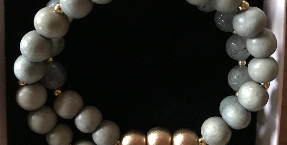 Bracelet élastique, perles de bois et pierre s.-précieuse, argent sterling,salvi