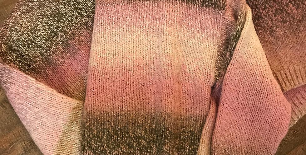 Pull rose-beige-brun, mélange du lain & acryllic Taille L