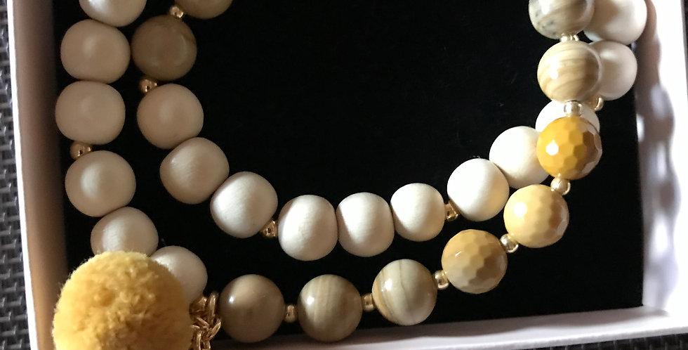 Bracelet élastique, perles de bois et pierre s.-précieuse, argent sterling, Curc