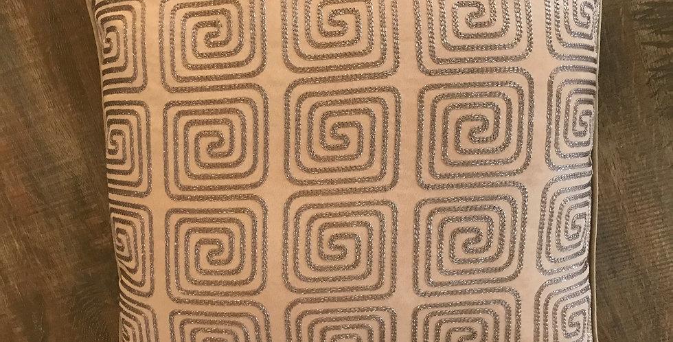 Cousin lavable avec fermeture éclair, 45x45cm, cotton-polyester, beige/argent