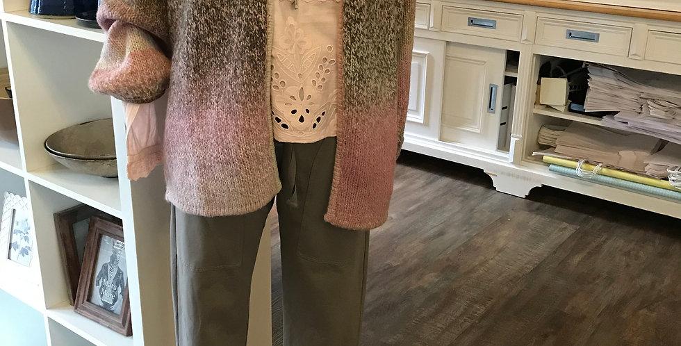 Veste rose, beige, brun, mélange du lain & acryllic Taille XL