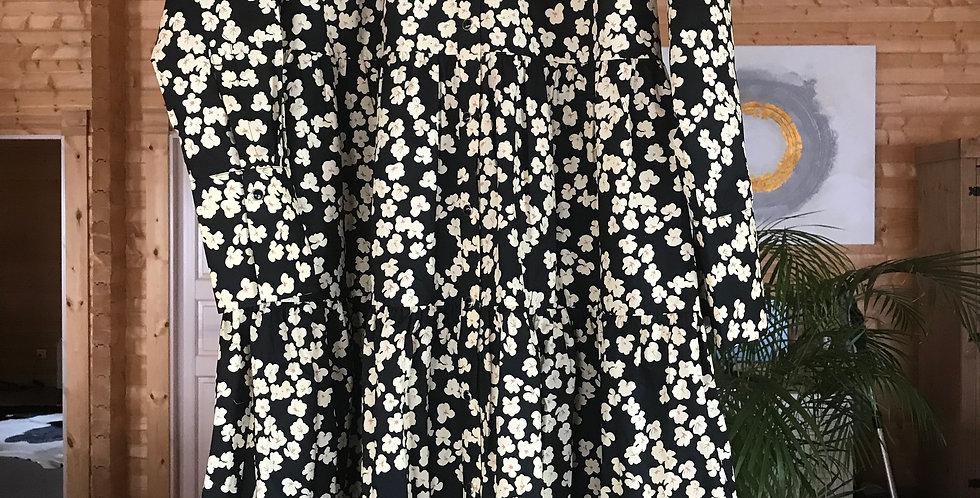 Alula robe, long, noir avec des fleurs dorées, cotton, Taille XS