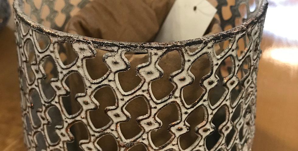 Bougeoir de style oriental, métal, blanc-or, 11x11,5cm