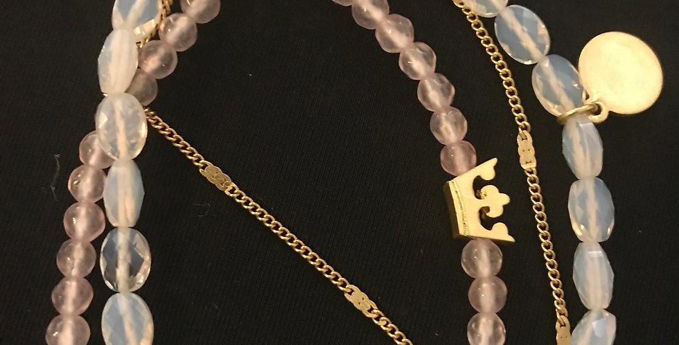 Bracelet laiton doré, pierre vrais, quarz-rose, aquamarine