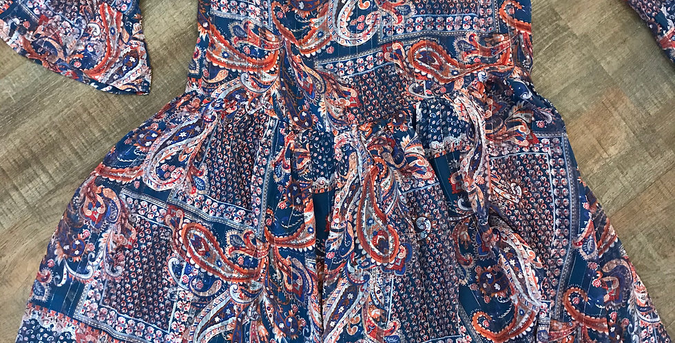 Robe bleu avec motifs, mélange viscose&polyester Taille 34