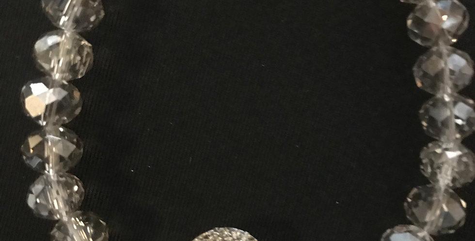 Bracelet brun transparent, elastic avec une décoration du strass, verre