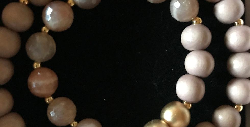 Bracelet élastique, perles de bois et pierre s.-précieuse, argent sterling, sand
