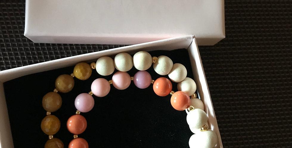 Bracelet élastique, perles de bois et pierre s.-précieuse, argent sterling, C.Aq