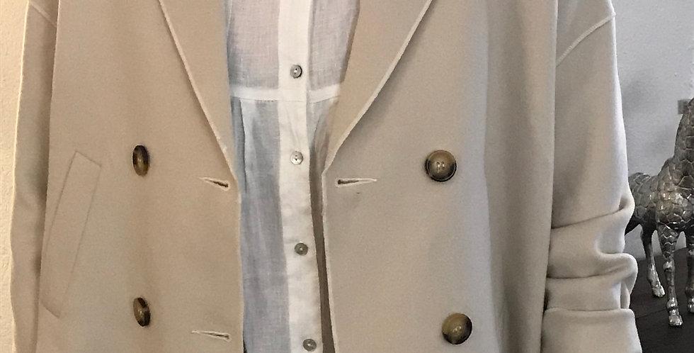 Veste beige, forme de A rond avec de grandes poches, visc./poly, Taille 40