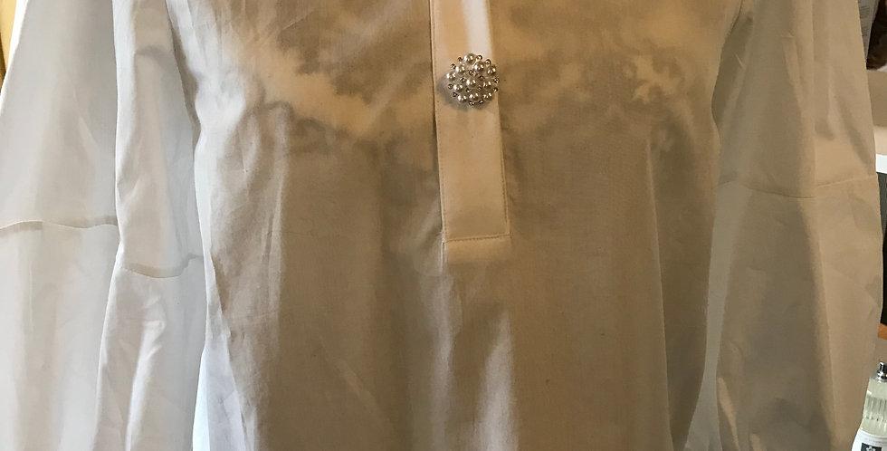 Chemisier blanc avec des boutons de Perle, cotton, Taille s