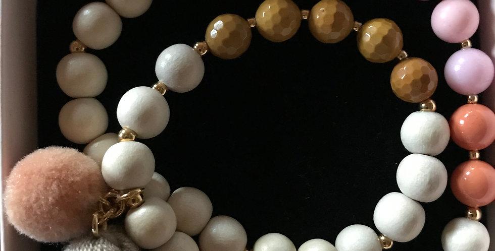 Bracelet élastique, perles de bois et pierre s.-précieuse, argent sterling,Toffe
