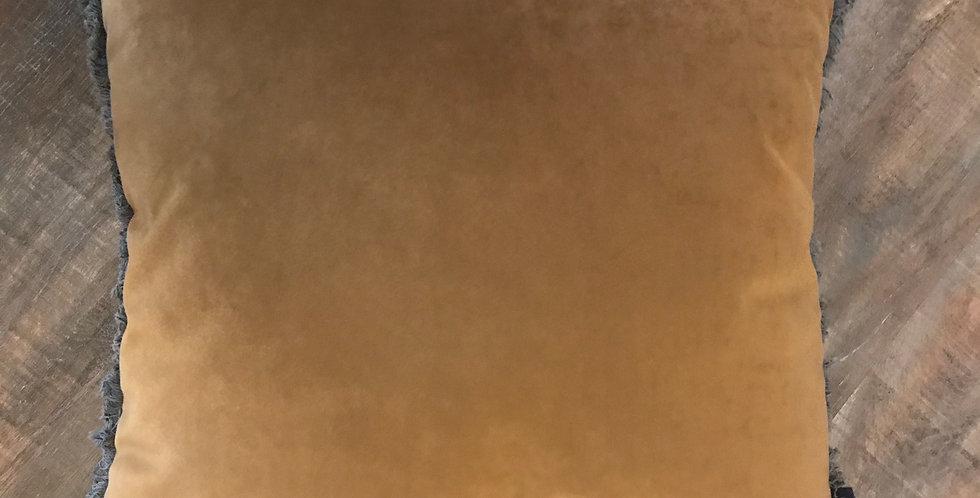 Cousin lavable avec fermeture éclair, velours, 45x45cm olive-doré