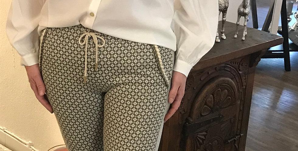 Pantalon vert, beige avec des poches, stretch, viscose, cotton, Poly, Taille m