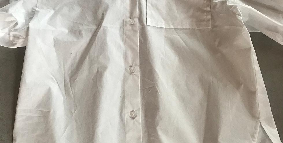 Chemisier blanc, oversized avec 1 poche, cotton, manches long-bouffant, tl. s