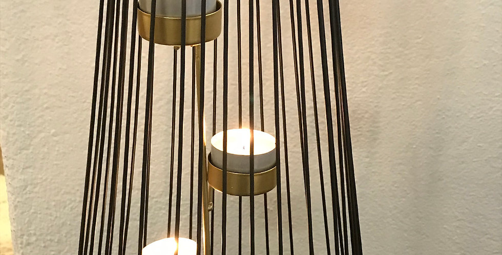 Bougeoir pour 3 bougies rechaud, métal, noir - or, forme conique, 38cm