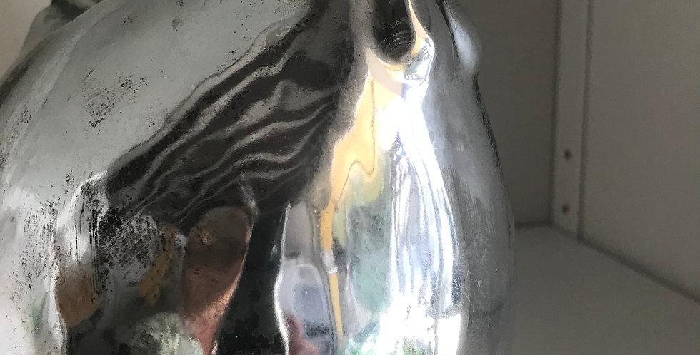 Poule argentée céramique 14.5cm