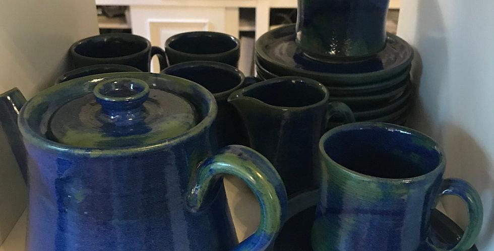 Service à café en terre cuite, 21 pièces, bleu-vert