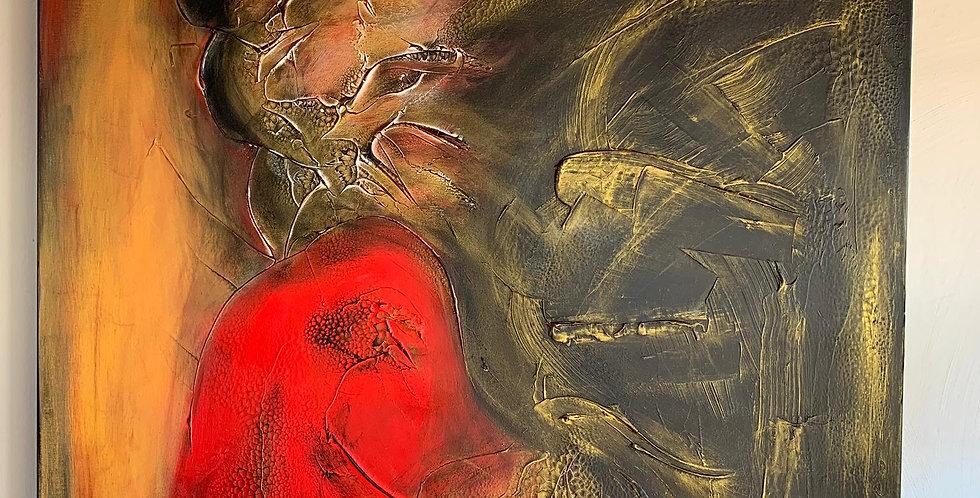 Tableau la créature mys de Cathy Bitz du Nax, 80x80cm, Chassis 4,5cm bois du pin