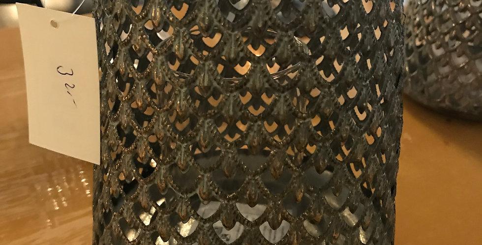 Bougeoir de style oriental, avec verre, métal, brun-or, 13cm