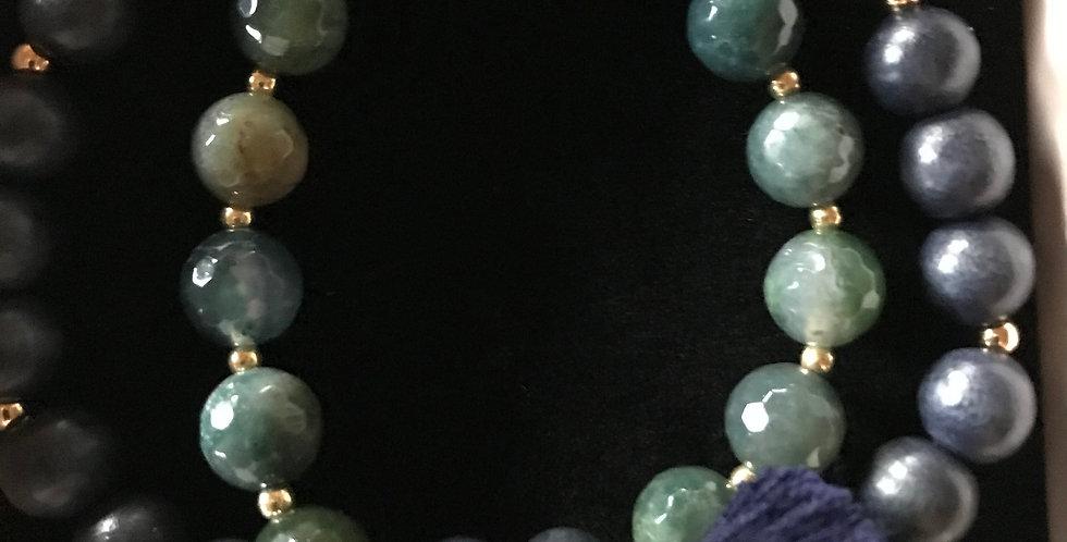 Bracelet élastique, perles de bois et pierre s.-précieuse, argent sterling,Patin