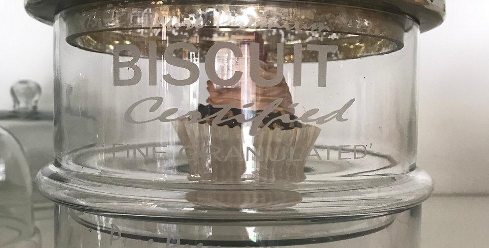 Bocal en verre, deux etage patisserie/biscuit diamètre17cm hauteur 25cm