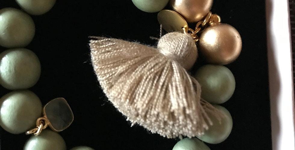 Bracelet élastique, perles de bois et pierre s.-précieuse, argent sterling, v-or