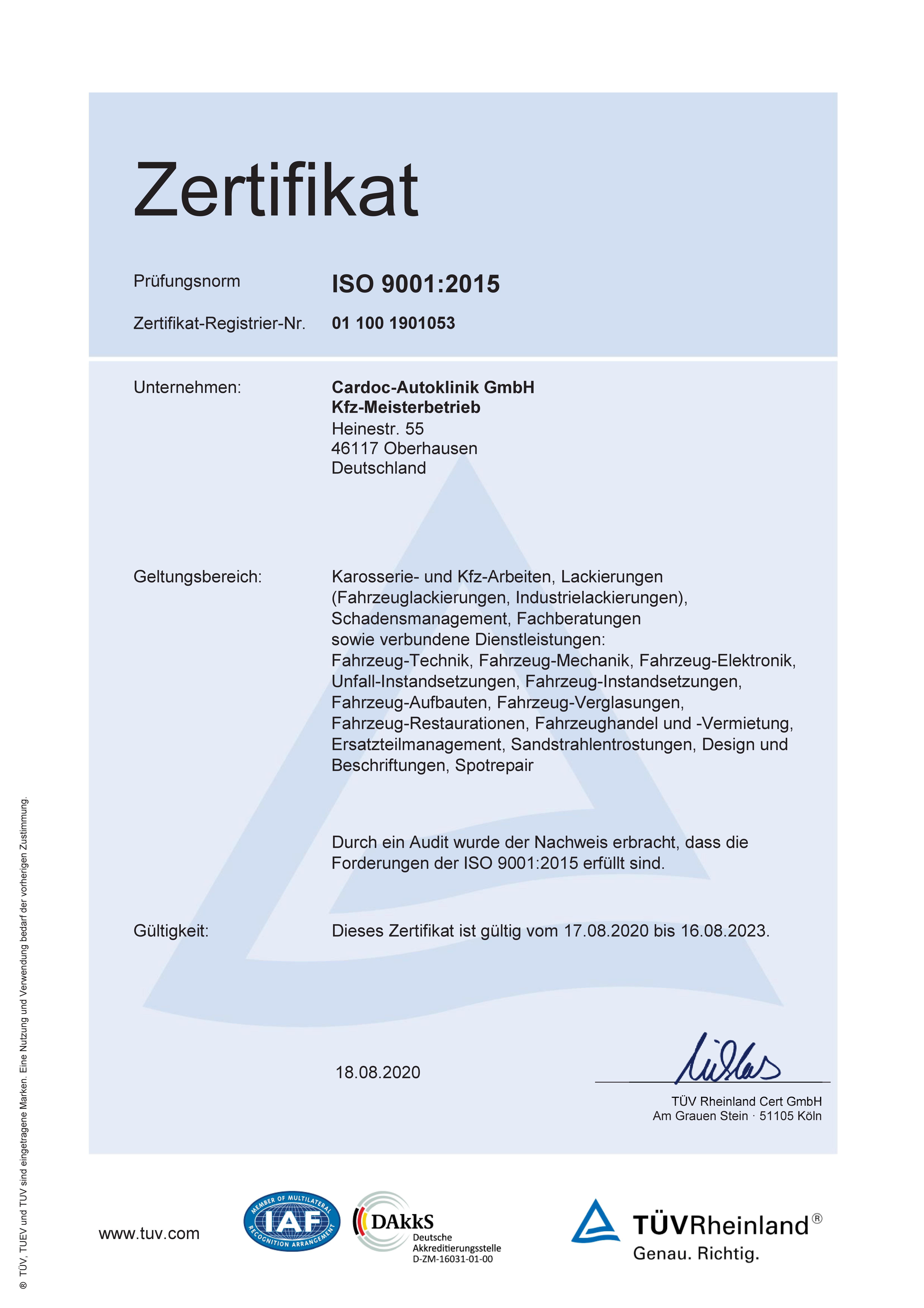 ISO Zertifikat 18.8.2020