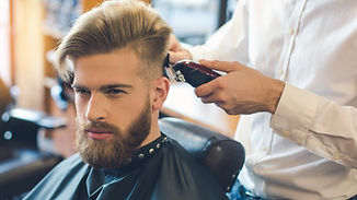 Young Man in Barbershop Hair Care Servic