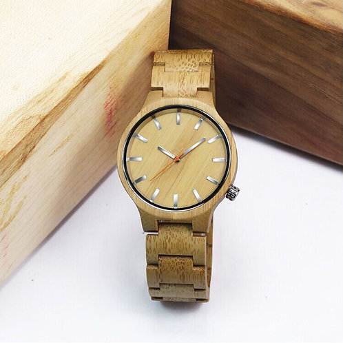 Men Bamboo Wood Watches Quartz Hour Clock Vintage Retro Wooden Wrist Watch
