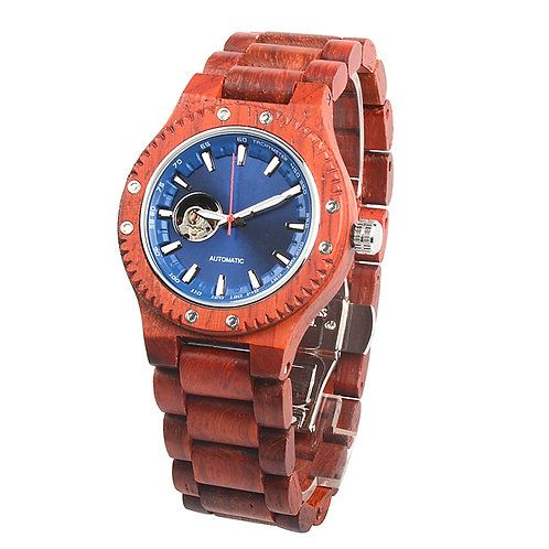 New Mechanical Round Men's Skeleton Watch Big face wood Luxury Wood Wear