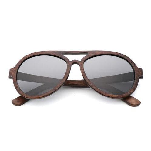 Mens Sunglasses Polarized Walnut Wood Mirror Lens Sun Glasses