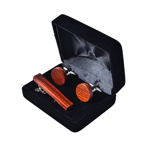 Environmental wooden Suit cufflinks tie clip whole 3 IN1 set selling Gift Box