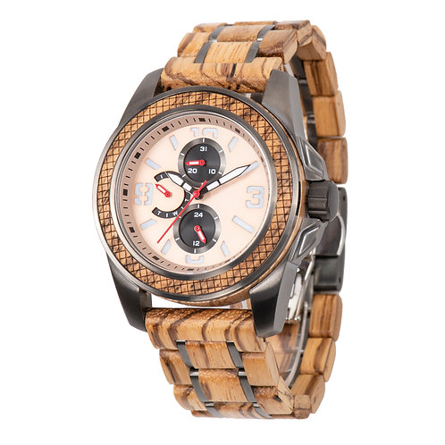New Luxury Watch Stainles Wood Metal Mixed Wristwatch Wooden EcVendor