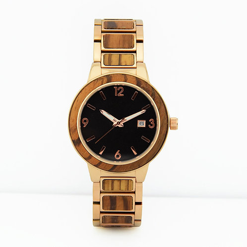 Men Stainless Steel mixed wood Classic Watch 100% Handicrafted Natural Wood