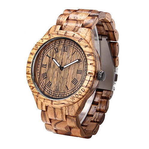 Men Zebra wood Classic Watch 100% Handicrafted Natural Wood Big Face