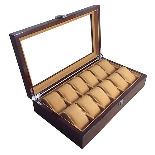 12 Slots Wood Watch Box Jewelry Display Collection Storage