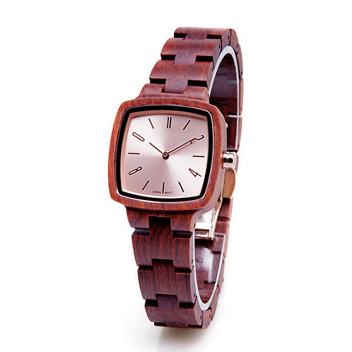 Red Square Shape Wood Lady Natural Wooden Watch from EcVendor