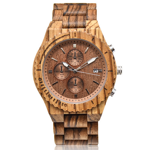 Natural Wood New Minimal Style Wood Chronograph Wristwatch from EcVendor