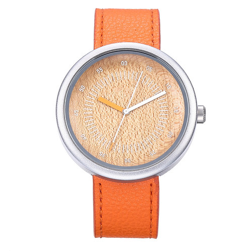 Minimal style New Orange Color Wood wristwatch EcVendor