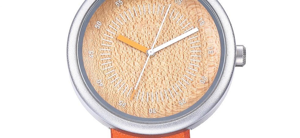 Minimal style New Orange Color Wood wristwatch EcVendor