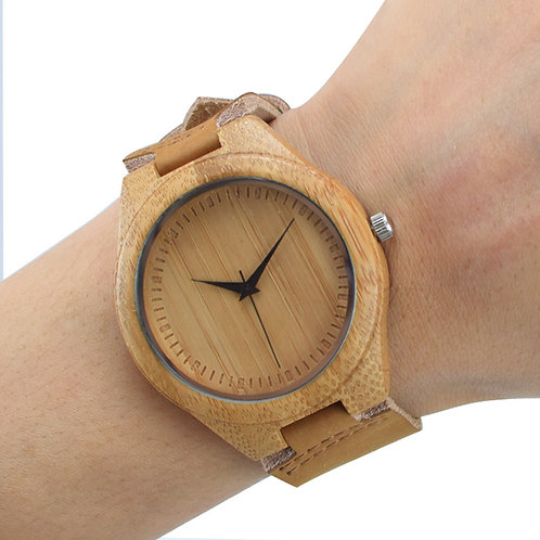 Wholesale 10pcs Bamboo Wooden Watch Casual Quartz Watch Leather band EcVendor