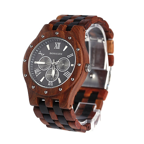 Wooden Watch Casual Wood Quartz Watch wood band week calandar Men Watch