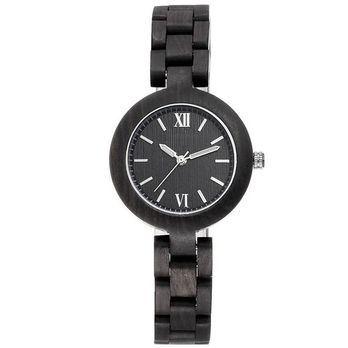 Small Face Ebony Wood Watch For Ladies from EcVendor