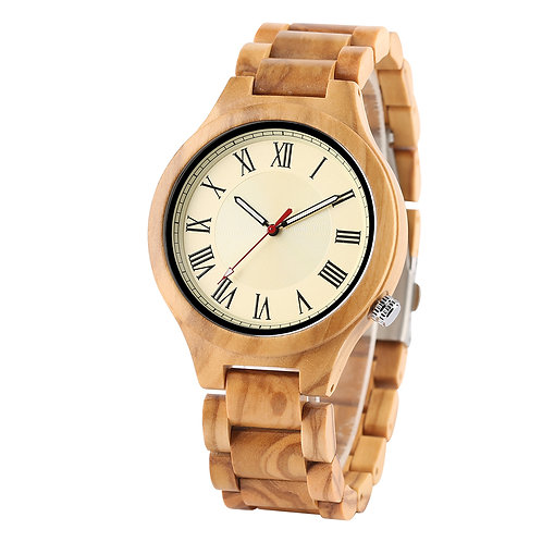 New Olive Wood Unisex Natural Wooden Watch from EcVendor