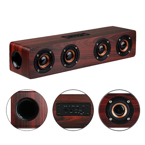4 Horns High Power Wood Wireless Bluetooth Speaker Portable Computer Speakers 3D