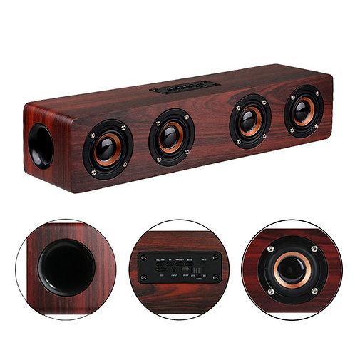 4 Horns High Power Wood Wireless Bluetooth Speaker Portable Computer Speakers 3D