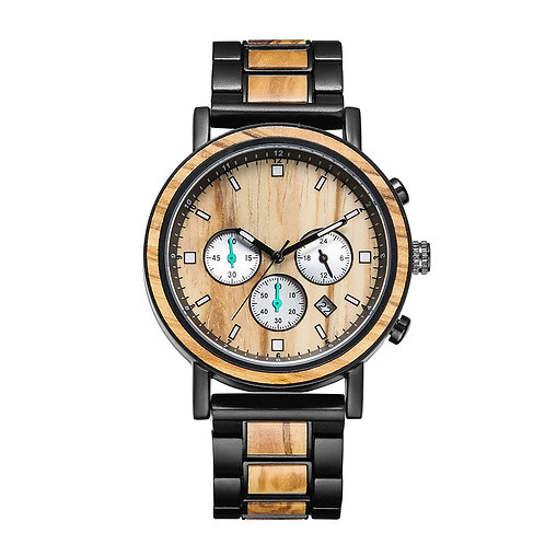 Olive Wood Men Metal Natural Wooden Watch from EcVendor