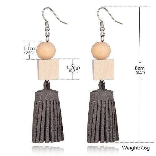 wholesale 10pcs wood earrings handmade leather fringed fashion aesthetic