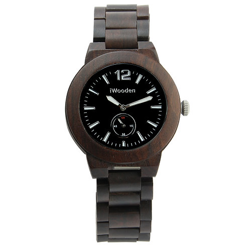 New Unisex Natural Black SandalWood Watch with second Dial