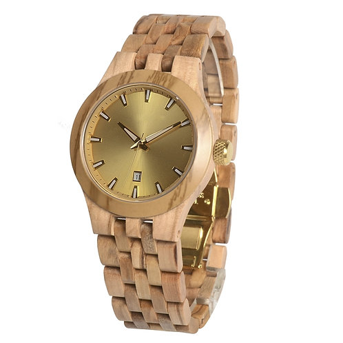 olivewood Stainless Steel Gold dial Face Wood watches from EcVendor